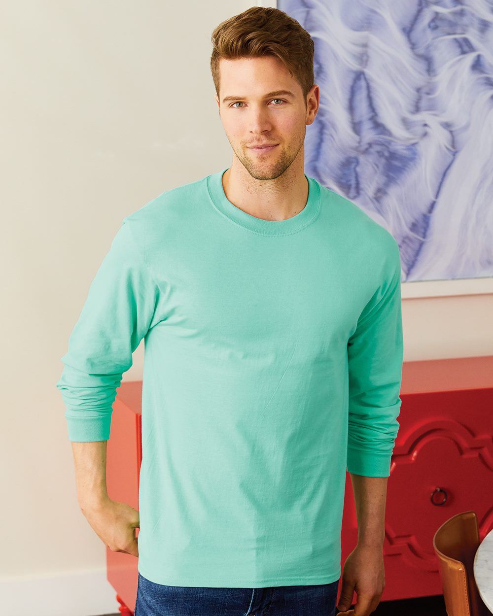 Hanes NEW 100/% Cotton Long Sleeve Beefy-T T-Shirt 5186 Mens S-3XL Tee 25 COLORS