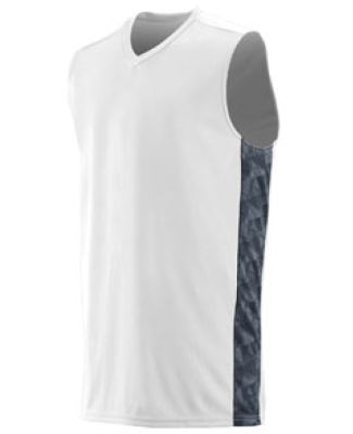 Augusta Sportswear 1720 Fast Break Game Jersey White/ Graphite/ Black Print