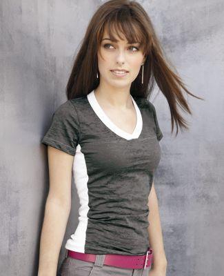 Blue 84 JBSS Juniors' Burnout V-Neck Side Stripe T-Shirt