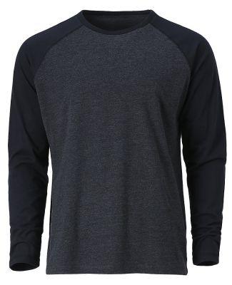 Ouray 23024 / Men's Baseball Long Sleeve Tee Black Heather/Black