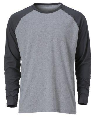 Ouray 23024 / Men's Baseball Long Sleeve Tee Premium Heather/Dark Grey