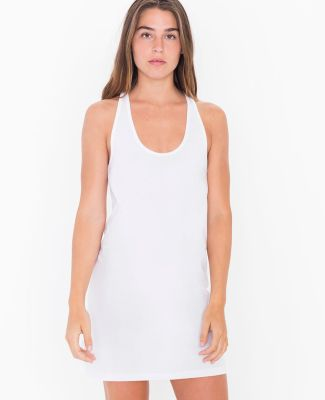 American Apparel 2335W Ladies' Fine Jersey Racerback Tank Dress White