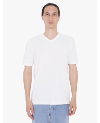 Unisex Fine Jersey Short-Sleeve Classic V-Neck White (Discontinued)