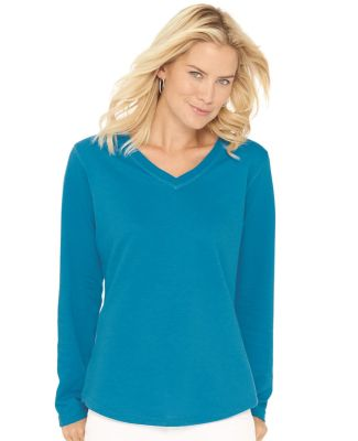 LAT 3761 Women's V-Neck French Terry Pullover