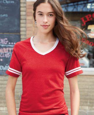 Blue 84 JTVR Juniors' Triblend V-Neck Ringer T-Shirt
