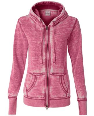 J8913 J-America Ladies' Vintage Zen Full-Zip Hooded Fleece Wildberry