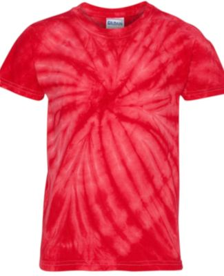 Dyenomite 20BCY Youth Cyclone Vat-Dyed Pinwheel Short Sleeve T-Shirt Red