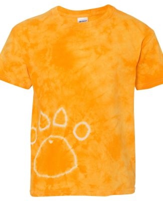 Dyenomite 20BPR Youth Pawprint Short Sleeve T-Shirt Gold