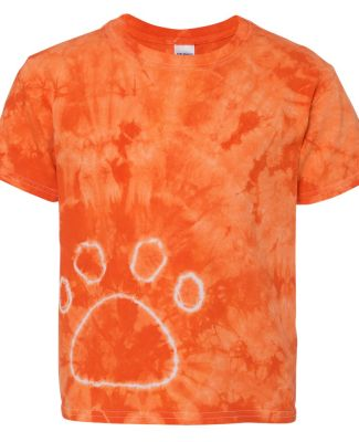 Dyenomite 20BPR Youth Pawprint Short Sleeve T-Shirt Orange