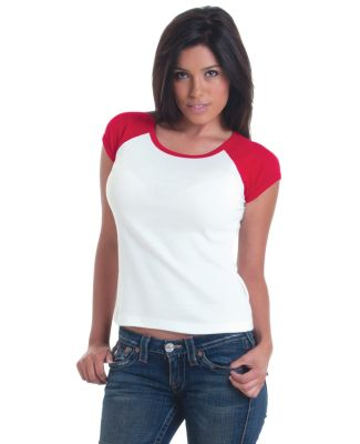 301 4557 Juniors' Cap Sleeve Raglan Tee
