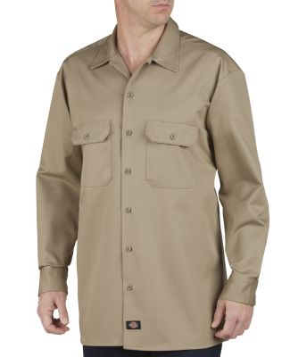 Dickies Workwear 549T Unisex Tall Heavyweight Cotton Long-Sleeve Shirt KHAKI