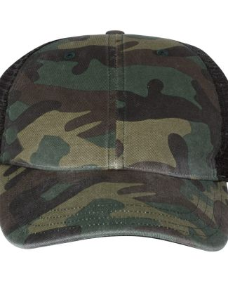 Richardson Hats 111P Washed Printed Trucker Cap Army Camo/ Black
