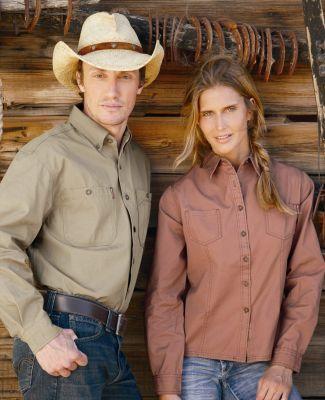 DRI DUCK 8284 Sawtooth Collection Ladies' Mortar Long Sleeve Shirt