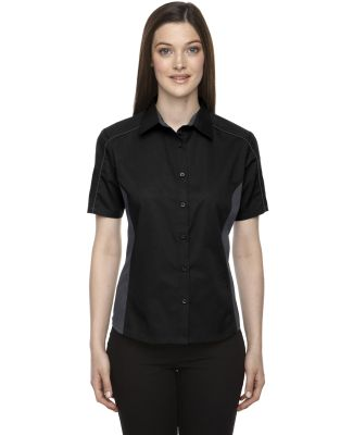 North End 77042 Ladies' Fuse Colorblock Twill Shirt BLACK
