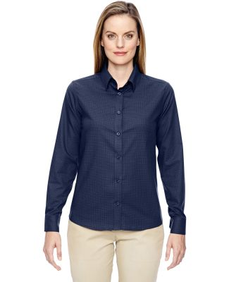 North End 77043 Ladies' Paramount Wrinkle-Resistant Cotton Blend Twill Checkered Shirt CLASSIC NAVY