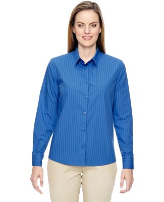 North End 77044 Ladies' Align Wrinkle-Resistant Cotton Blend Dobby Vertical Striped Shirt DEEP BLUE