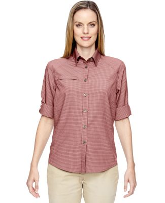 North End 77046 Ladies' Excursion F.B.C. Textured Performance Shirt RUST