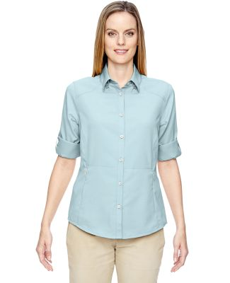 North End 77047 Ladies' Excursion Concourse Performance Shirt CRYSTAL BLUE