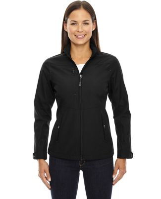 North End 78212 Ladies' Forecast Three-Layer Light Bonded Travel Soft Shell Jacket BLACK