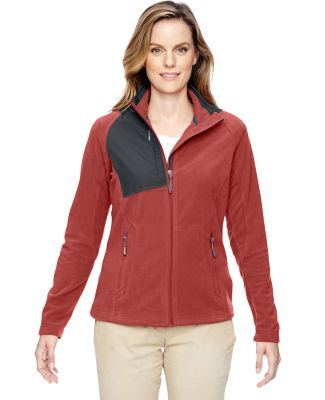 North End 78215 Ladies' Excursion Trail Fabric-Block Fleece Jacket RUST