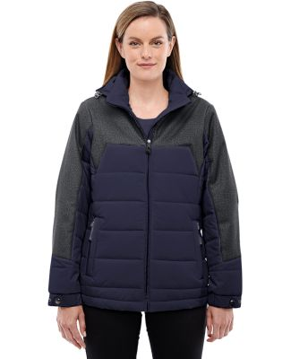 North End 78232 Ladies' Excursion Meridian Insulated Jacket with Mélange Print NAVY/ DK GRP HT