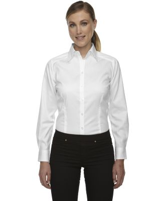 78646 Ash City - North End Sport Red Ladies' Wrinkle-Free Two-Ply 80's Cotton Taped Stripe Jacquard Shirt WHITE