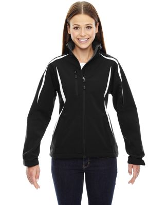 78650 Ash City - North End Sport Red Ladies' Enzo Colorblocked Three-Layer Fleece Bonded Soft Shell Jacket BLACK