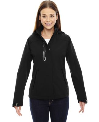 78665 Ash City - North End Sport Red Ladies' Axis Soft Shell Jacket with Print Graphic Accents BLACK