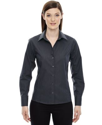 78674 North End Sport Blue Boardwalk Ladies' Wrinkle-Free 2-Ply 80's Cotton Striped Taped Shirt CARBON