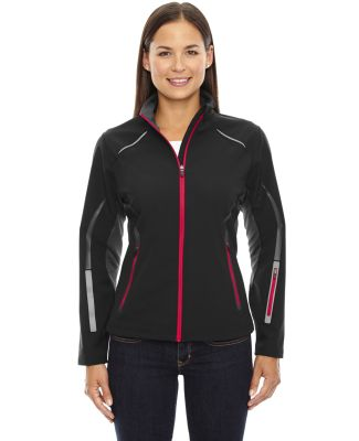 78678 Ash City - North End Sport Red Ladies' Pursuit Three-Layer Light Bonded Hybrid Soft Shell Jacket with Laser Perforation BLACK/ OLYM RED