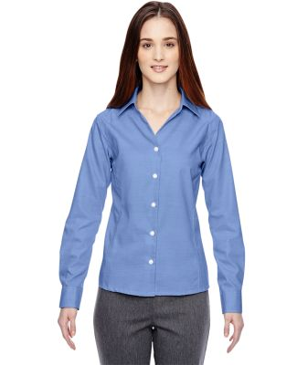 78690 Ash City - North End Sport Blue Ladies' Precise Wrinkle-Free Two-Ply 80's Cotton Dobby Taped Shirt INK BLUE
