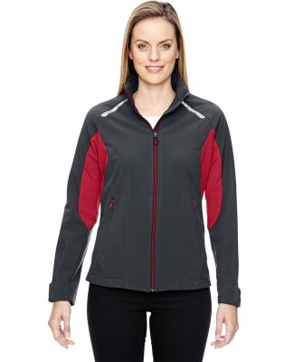 78693 Ash City - North End Sport Red Ladies' Excursion Soft Shell Jacket with Laser Stitch Accents CARBON/ OLY RED