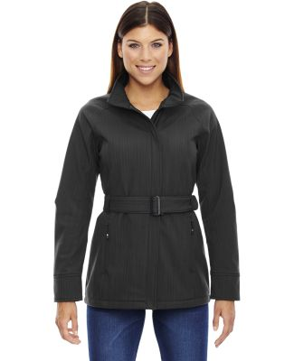 78801 Ash City - North End Sport Blue Ladies' Skyscape Three-Layer Textured Two-Tone Soft Shell Jacket CARBON HEATHER