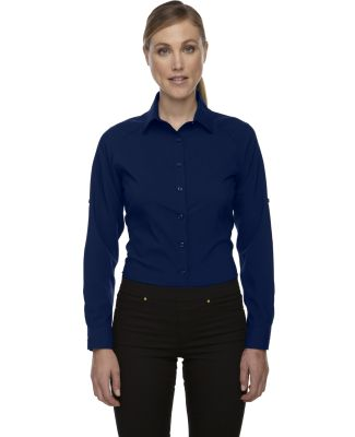 78804 Ash City - North End Sport Red Ladies' Rejuvenate Performance Shirt with Roll-Up Sleeves NIGHT