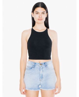 American Apparel 8369W Ladies' Cotton Spandex Sleeveless Crop Top Black