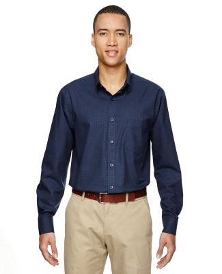 North End 87043 Men's Paramount Wrinkle-Resistant Cotton Blend Twill Checkered Shirt CLASSIC NAVY