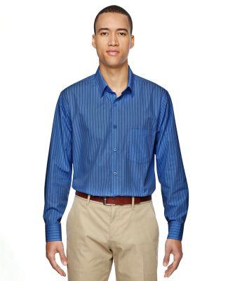 North End 87044 Men's Align Wrinkle-Resistant Cotton Blend Dobby Vertical Striped Shirt DEEP BLUE