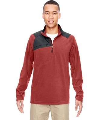 North End 88217 Adult Excursion Trail Fabric-Block Fleece Quarter-Zip RUST