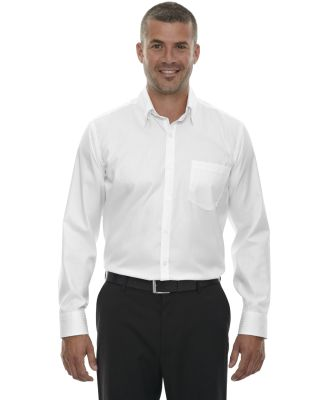 88646 Ash City - North End Sport Red Men's Wrinkle-Free Two-Ply 80's Cotton Taped Stripe Jacquard Shirt WHITE
