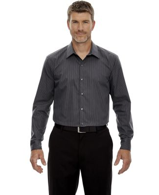 88674 North End Sport Blue Boardwalk Men's Wrinkle Free 2-Ply 80's Cotton Striped Taped Shirt CARBON