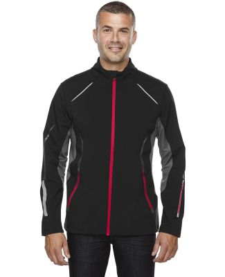 88678 Ash City - North End Sport Red Men's Pursuit Three-Layer Light Bonded Hybrid Soft Shell Jacket with Laser Perforation BLACK/ OLYM RED
