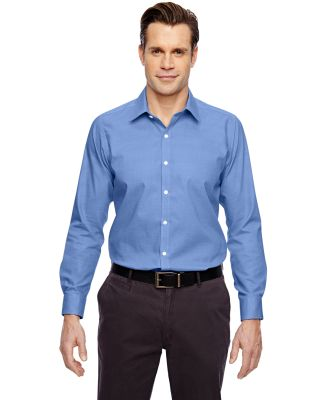 88690 Ash City - North End Sport Blue Men's Precise Wrinkle-Free Two-Ply 80's Cotton Dobby Taped Shirt INK BLUE