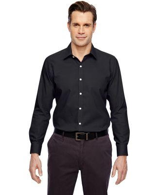 88690 Ash City - North End Sport Blue Men's Precise Wrinkle-Free Two-Ply 80's Cotton Dobby Taped Shirt BLACK