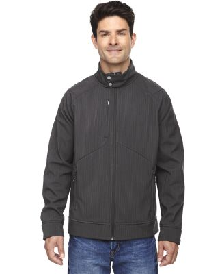 88801 Ash City - North End Sport Blue Men's Skyscape Three-Layer Textured Two-Tone Soft Shell Jacket CARBON HEATHER