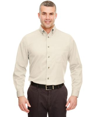 UltraClub 8960C Adult Cypress Long-Sleeve Twill with Pocket NATURAL