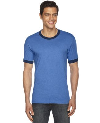 American Apparel BB410 Unisex Poly-Cotton Short Sleeve Ringer T-Shirt HTH LK BLUE/ NVY
