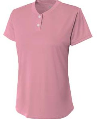 NG3143 A4 Drop Ship Girl's Tek 2-Button Henley Shirt PINK