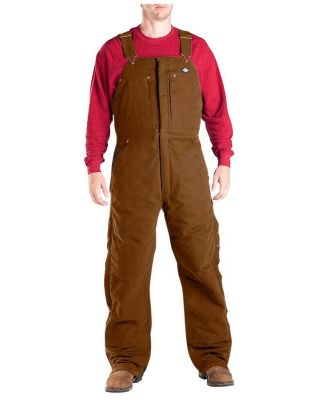 Dickies Workwear TB246 Unisex Sanded Duck Insulated Bib Overall BROWN DUCK _M