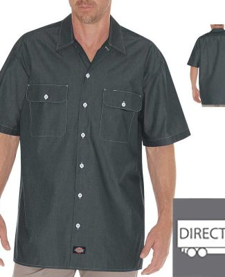 Dickies Workwear WS509 Unisex Relaxed Fit Short-Sleeve Chambray Shirt BLUE CHAMBRAY