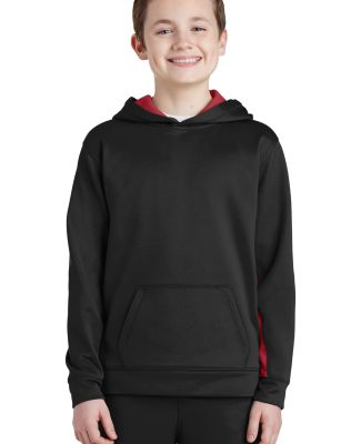 Sport Tek YST235 Sport-Tek Youth Sport-Wick Fleece Colorblock Hooded Pullover